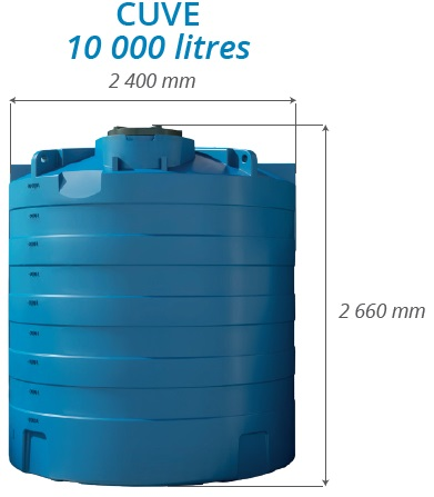 Dimensions de la cuve à eau 10000 litres RL DISTRIB